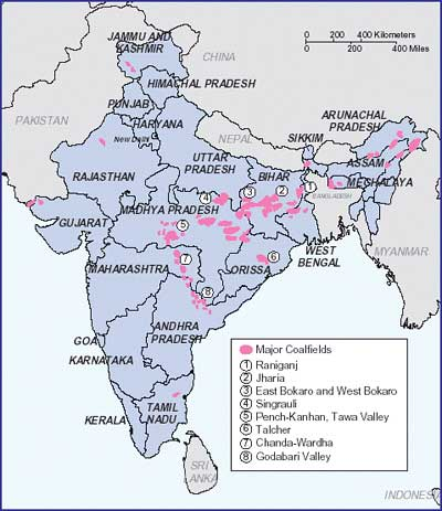 Coalfields distribution in India
