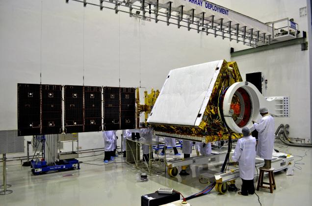 Scientists at work on the RISAT-1 Satellite
